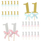 One Cupcake Toppers picks Pink and Gold First Birthday Decorations Numbers