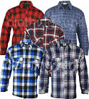 Mens Padded  Lumberjack Check Flannel Work Shirt Jacket in Pocket