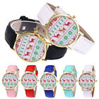 Christmas Elk Pattern Women Girl's Leather Band Analog Quartz Gold Wrist Watch