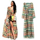 Lady Sexy Boho Long Stripes Chiffon Long Sleeve Cardigan Maxi Shirt Dress  S-L