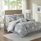 Beautiful Grey Floral Printed Cotton Sheets 9 pcs Comforter Cal King Queen Set image