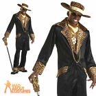 Supa Mac Daddy Pimp Costume Mens 70s Fancy Dress Leopard Gangster Outfit New