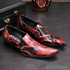 Mens slip on print moccasins driving low heel dress formal shoes floral fasthion