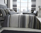 Ashcroft Stripe Design Grey Bedding Duvet Cover Set Single Double King