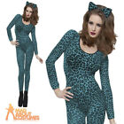 Blue Leopard Print Body Suit Sexy Animal Catsuit Ladies Womens Fancy Dress 6-14