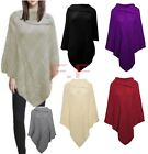 Womens Girls Fishnet Knitted 3 Button Collared Poncho Pull Over Jumper Shawl Top