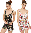 Womens Floral Print Crop Bralet Shorts Co-Ord Set Ladies Bra Top Loungewear Suit