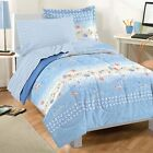 NEW Beach Stripe Blue White Sea Ocean Fish Comforter Bedding Sheet Set