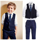 Boys Kids Suits 4 Piece Waistcoat Suit Wedding Page Baby Formal Party Outfits UK