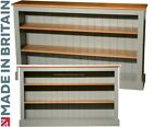 Contemporary Gray Painted & Oak Bookcase, 3ft x 5ft Low Display Shelving Unit