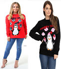 Womens Unisex Pom Pom 3d Penguin Gift Christmas Novelty Sweater Jumper Pull Over