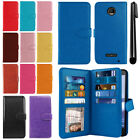 For Motorola Moto Z Force Droid Edition Holder Wallet Cover Wrist Strap + Pen