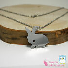Necklace with Hares Pendant - Rabbit - Bunny - Rabbit - Silver
