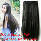 Hair Extensions Clip in One Piece Full Head Set 100% Human Remy Hair Straight AA