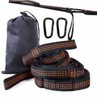 Cotton Rope Hanging Hammock Swing Camping Canvas Bed w/ Heavy Duty Strap & Hook