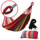Cotton Rope Hanging Hammock Swing Camping Canvas Bed w/ Heavy Duty Strap