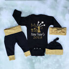 3PCS Christmas Set Newborn Baby Boys Tops Romper +Long Pants Hat Outfits Clothes