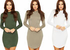 Womens Curved Hem Dress Ladies Turtle Neck Long Sleeve Plain Bodycon 8-14