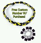 "Titanium Tornado Sports Braided Rope Necklace 18"" 20"" 22"" YELLOW BLACK WHITE"