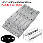 10Pairs Push To Open Drawer Slides/Runners Side Mount Ball Bearing Soft Closing