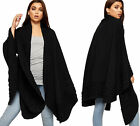 Womens Knitted Open Draped Waterfall Long Shawl Cardigan Jacket Ladies Cape