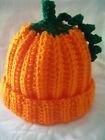 New Pumpkin Halloween crocheted fall beanie hat size preemie thru adult