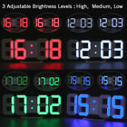 Large 3D LED Display Alarm Clock Digit Adjustable Battery Backup Wall USB Table