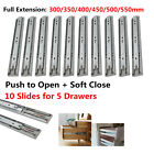 5Pairs Push To Open Drawer Slides/Runners Side Mount Ball Bearing Soft Close