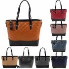 New Quilted Faux Leather Two Tone Top Handle Strap Ladies Shopper Bag