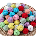 Chunky Crochet Teething Wooden Beads DIY Baby Necklace Jewelry Round Beads Craft