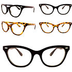 Womens Clear Lens Cat Eye Glasses 1980's Vintage Eyeglasses Tortoise Black Frame
