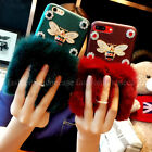 For iPhone Luxury Bling Diamonds Bee Ring Kickstand Fuzzy Rabbit Fur Case Cover