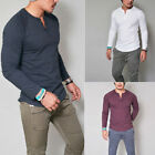 Fashion Men's Slim Fit V Neck Long Sleeve Muscle Tee T-shirt Casual Tops Blous V