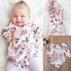 Summer Baby Girl Jumpsuit Floral Printed Long Sleeve Cotton Blends Bodysuit