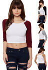 Womens Stretch 3/4 Sleeve Contrast Crew Neck T-Shirt Ladies Cropped Top 8-14