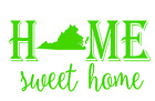 Virginia State Home Sweet Home Vinyl Decal Sticker RV Window Wall Home Choice