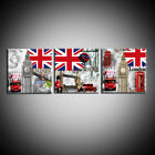 3 Piece Hot Sell Modern Wall Art London City Red bus Painting Printed on Canvas