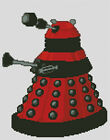 Cross stitch chart, pattern, Dalek, Dr Who, Doctor, Red