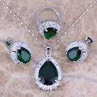 Shiny Green Emerald White Topaz Silver Jewelry Sets Earrings Pendant Ring S0102