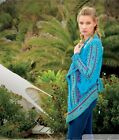 Biya  by Johnny Was Turquoise Harshed Embroidered Knit Wrap  B9310  Retail $395