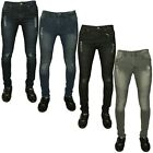 NEW MENS STONE-EDGE SKINNY SUPER STRETCH FIT BIKER DENIM JEANS ALL WAIST BLUE