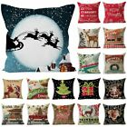 Christmas Xmas Cotton Linen Cushion Cover Throw Pillow Case Festive Home Decor image