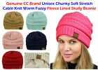CC Beanie Women's  FLEECE LINED Chunky Soft Stretch Cable Knit Warm Fuzzy Beanie