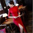 Chinese traditional dress women's lace long Cheongsam size:S to 3XL