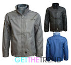 Mens Crosshatch Designer Waterproof  Collared Raincoat Zipped Jacket Coat S-XXL