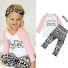 Toddler Baby Kids Girls Clothes T-shirt Pants Leggings Headband 3PCS Outfits Set