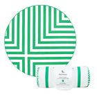 Round Beach Towel in Green stripes, Compact & Lightweight Ro