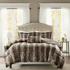 Super Deluxe Grey Brown Silky Chinchilla Faux Fur Comforter Set 4 pcs King Queen image