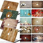 3IN1 Rubber Coated Logo Cutout Hard WOOD Painting Case Cover for Macbook Laptop
