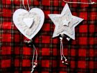 Cream wooden heart / star with lace and bells.Xmas tree decoration. Choice of 2.